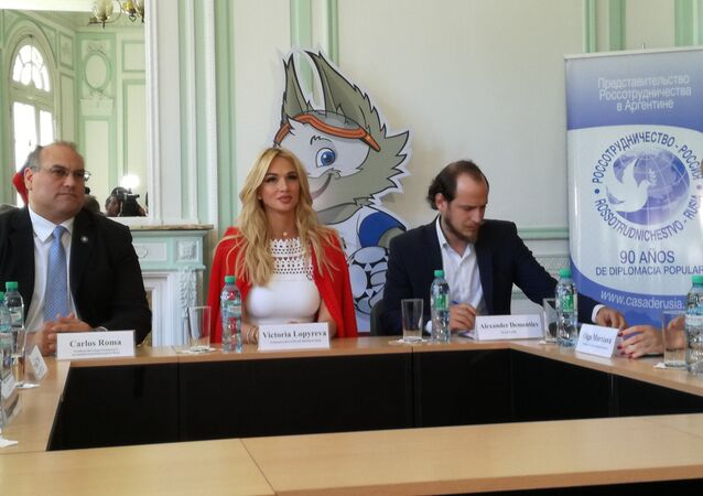 Victoria Lopyreva, ambassador of the 2018 FIFA World Cup Russia, during her official visit to Argentina