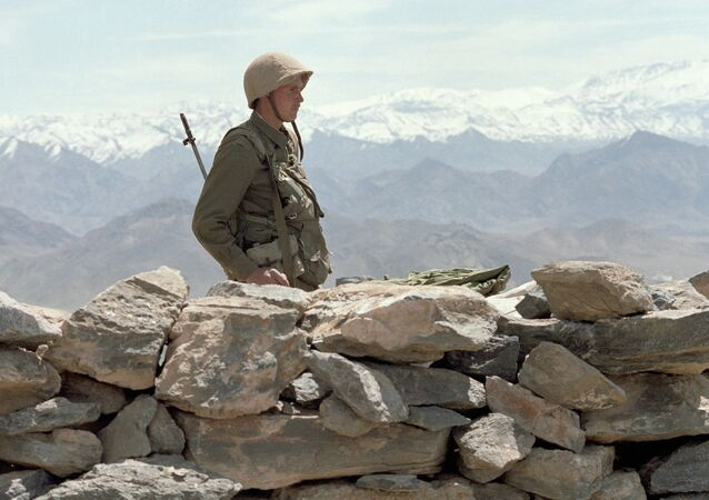 A Soviet soldier-internationalist guards the Afghan roads
