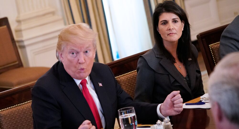 US President Donald Trump (C) speaks, watched by US Ambassador to the UN Nikki Haley, during lunch with members of the United Nations Security Council in the State Dining Room of the White House in Washington, DC