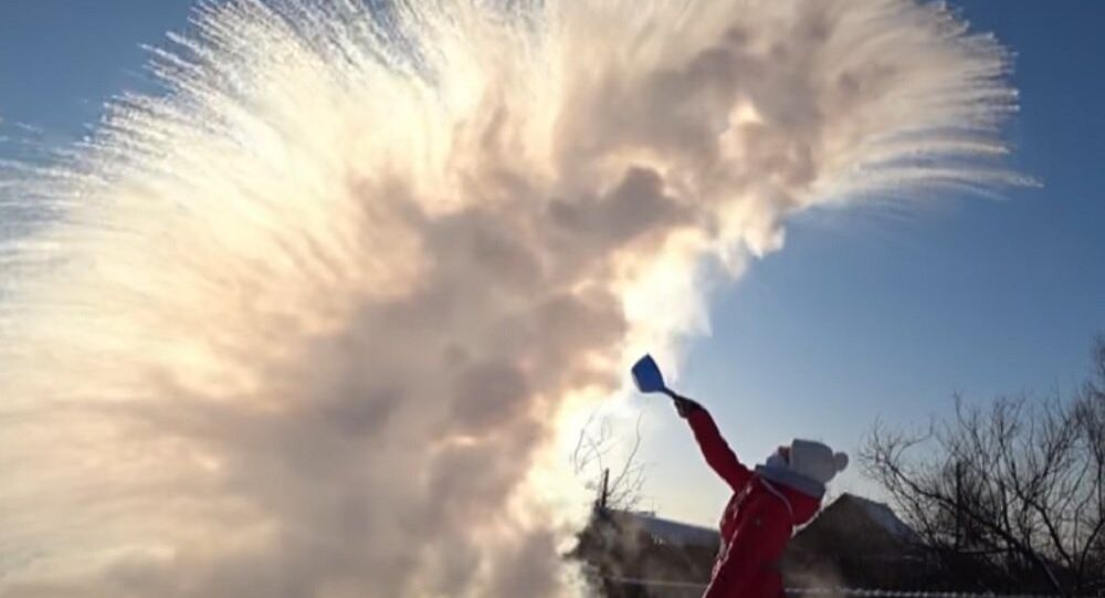 Boiling Water Turns to Snow