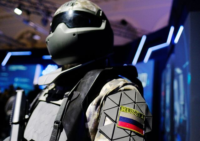 A model of a battle suit from the Central Scientific - Research Institute for Precision Machine Engineering (the institute is part of the Rostech state corporation) at the Russia Focused on the Future exhibition held in the Manezh Central Exhibition Hall, Moscow. (File)