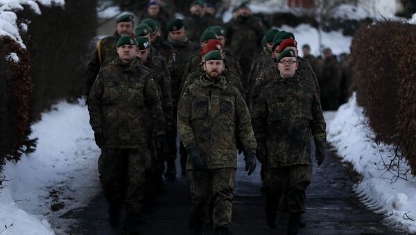German Bundeswehr soldiers of the 122th Infantry Battalion take part in a farewell ceremony in Oberviechtach, Germany, Thursday, Jan. 19, 2017 - Sputnik International