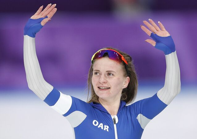 Speed Skating - Pyeongchang 2018 Winter Olympics - Women's 5000 m competition finals - Gangneung Oval - Gangneung, South Korea - February 16, 2018 - Olympic Athlete from Russia Natalia Voronina gestures after the race