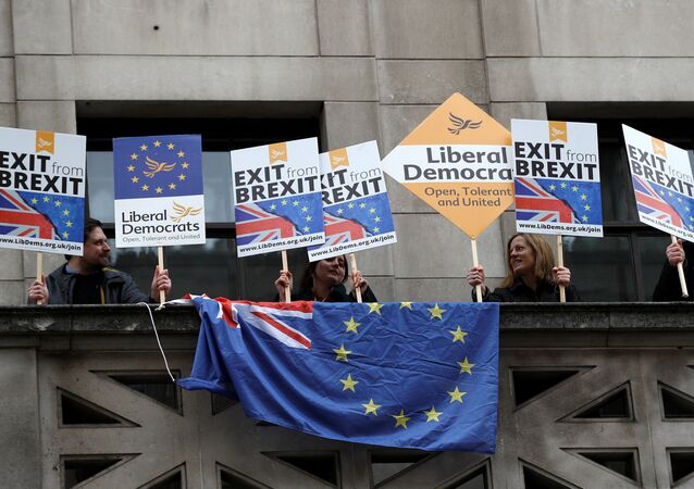 A number of pro-EU supporters protest outside the building where Britain's Foreign Secretary Boris Johnson delivers a speech on Brexit at the Policy Exchange in central London, Britain