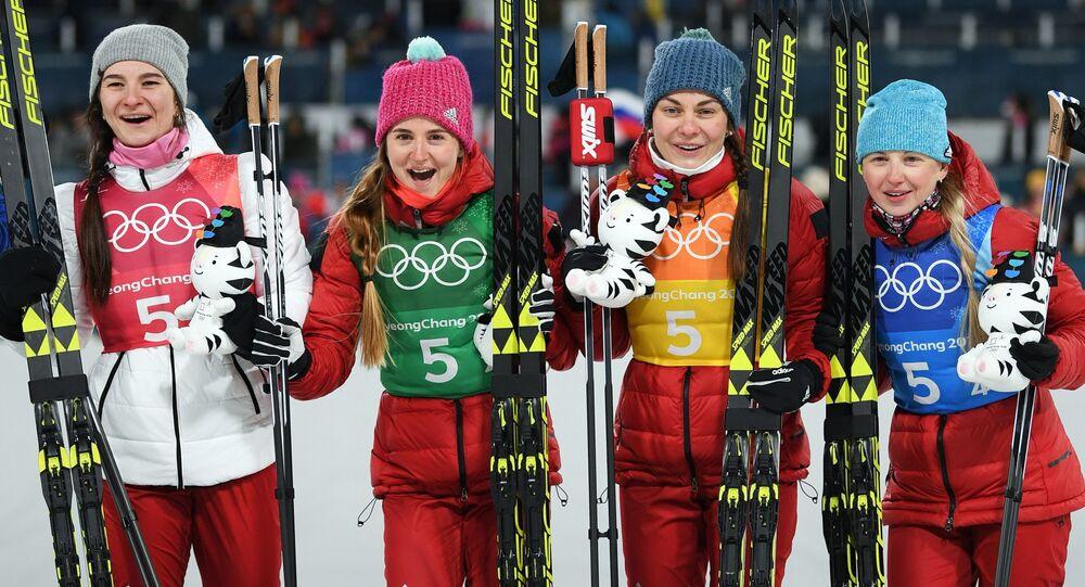 Bronze medalists of the 4X5 km relay in women's cross-country skiing at the XXIII Olympic Winter Games in Pyeongchang. From left: Olympic Athletes from Russia Natalya Nepryayeva, Yulia Belorukova, Anastasia Sedova and Anna Nechayevskaya