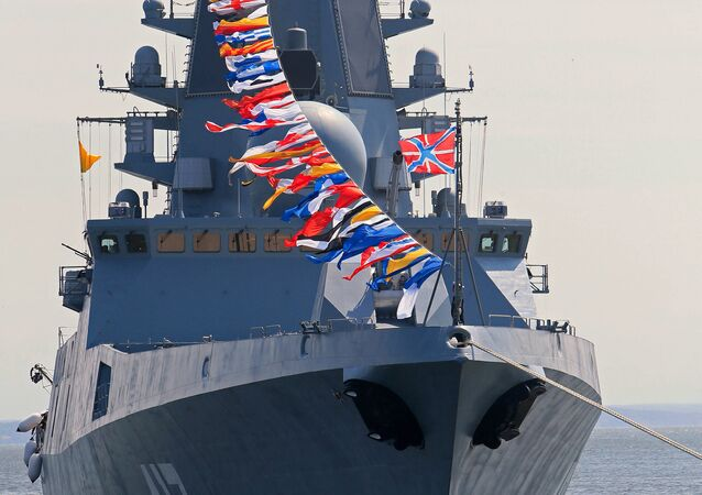 Russian frigate Admiral Gorshkov during a full dress rehearsal for the naval review in the Seaway Canal of Baltiysk