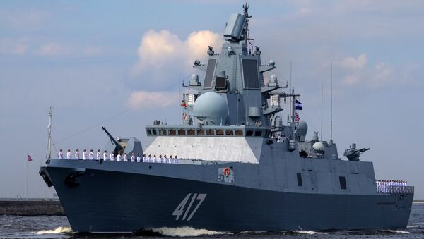 The Admiral Gorshkov frigate during the final rehearsal of the naval parade to celebrate Russian Navy Day in Kronstadt - Sputnik International