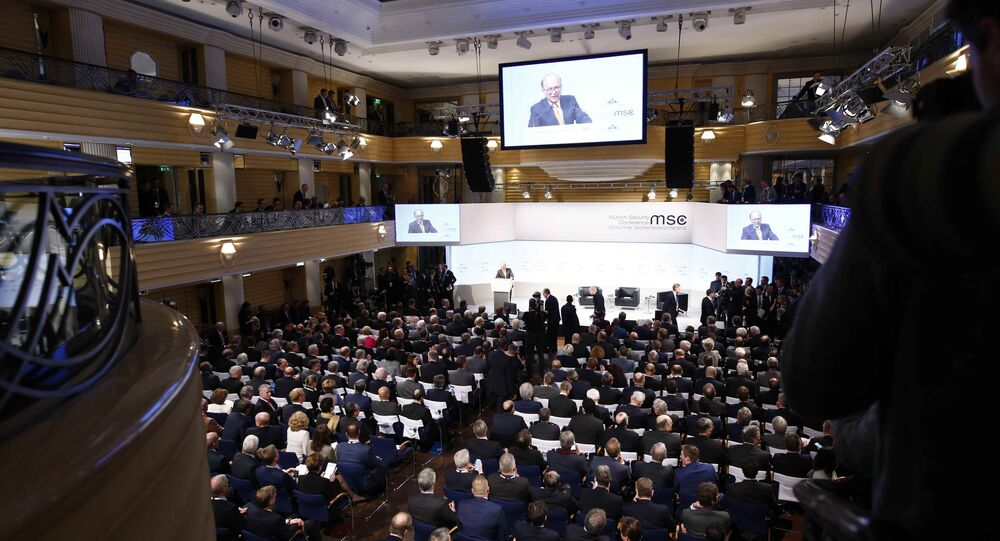 Conference chairman Wolfgang Ischinger talks at the Munich Security Conference in Munich, Germany, February 16, 2018