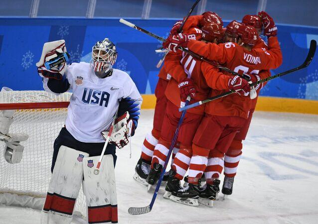 2018 Winter Olympics. Ice Hockey. Men. Russia vs USA