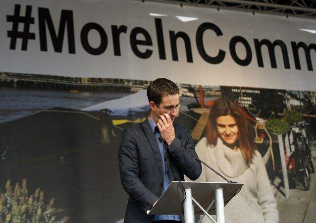 Brendan Cox, widower of murdered British MP Jo Cox makes a speech during a gathering to celebrate her life, in Trafalgar Square, London, Wednesday, June 22, 2016