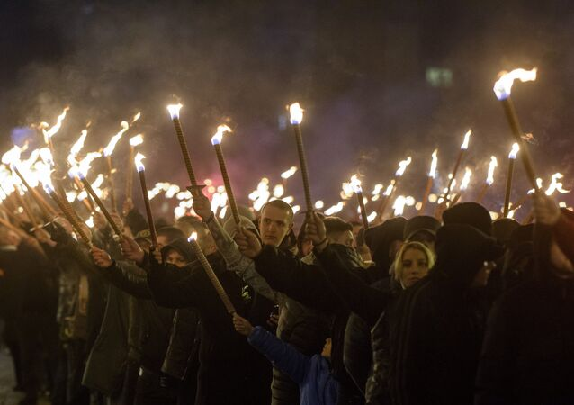 Members of nationalist organizations march with torches during a march to commemorate Bulgarian General and politician Hristo Lukov, in the centre of Sofia on February 17, 2018