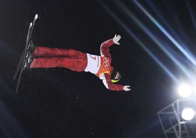 Ilya Burov (Russia) at aerials competitions among men at the XXIII winter Olympic Games in Pyeongchang
