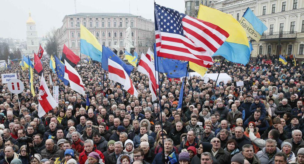 Supporters of Ukrainian opposition figure and Georgian former President Mikheil Saakashvili hold a rally against Ukraine's President Petro Poroshenko in Kiev, Ukraine February 18, 2018