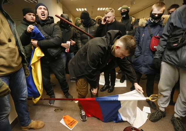 Activists and supporters of Ukrainian nationalist parties and movements hold a protest at the office of the Russian Centre of Science and Culture in Kiev, Ukraine February 17, 2018