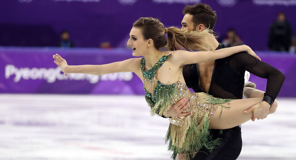 Figure Skating - Pyeongchang 2018 Winter Olympics - Ice Dance short dance competition - Gangneung Ice Arena - Gangneung, South Korea - February 19, 2018 - Guillaume Cizeron and Gabriella Papadakis of France perform
