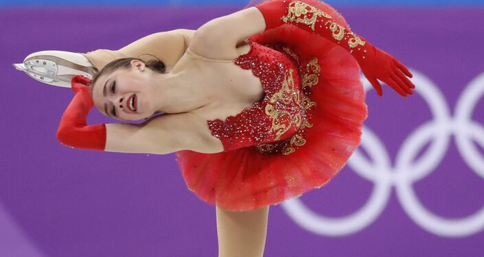 Figure Skating – Pyeongchang 2018 Winter Olympics – Team Event Women's Single Skating Free Skating competition final – Gangneung Ice Arena - Gangneung, South Korea – February 12, 2018 - Alina Zagitova, an Olympic athlete from Russia, competes