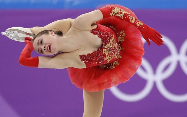 Figure Skating – Pyeongchang 2018 Winter Olympics – Team Event Women's Single Skating Free Skating competition final – Gangneung Ice Arena - Gangneung, South Korea – February 12, 2018 - Alina Zagitova, an Olympic athlete from Russia, competes - Sputnik International