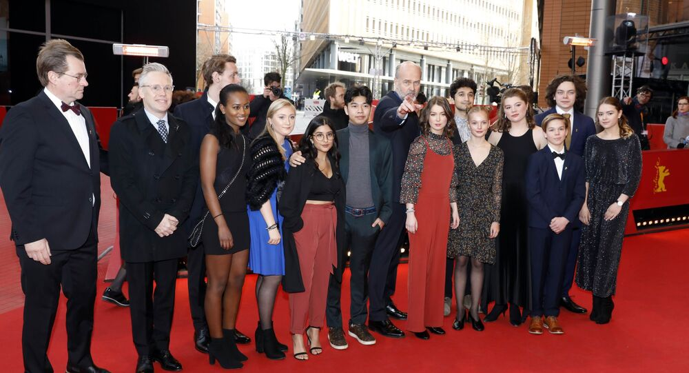 Director and executive producer Erik Poppe and cast members arrive for the screening of the movie Utoya 22.juli (U - Jully 22) at the 68th Berlin International Film Festival Berlinale in Berlin,Germany