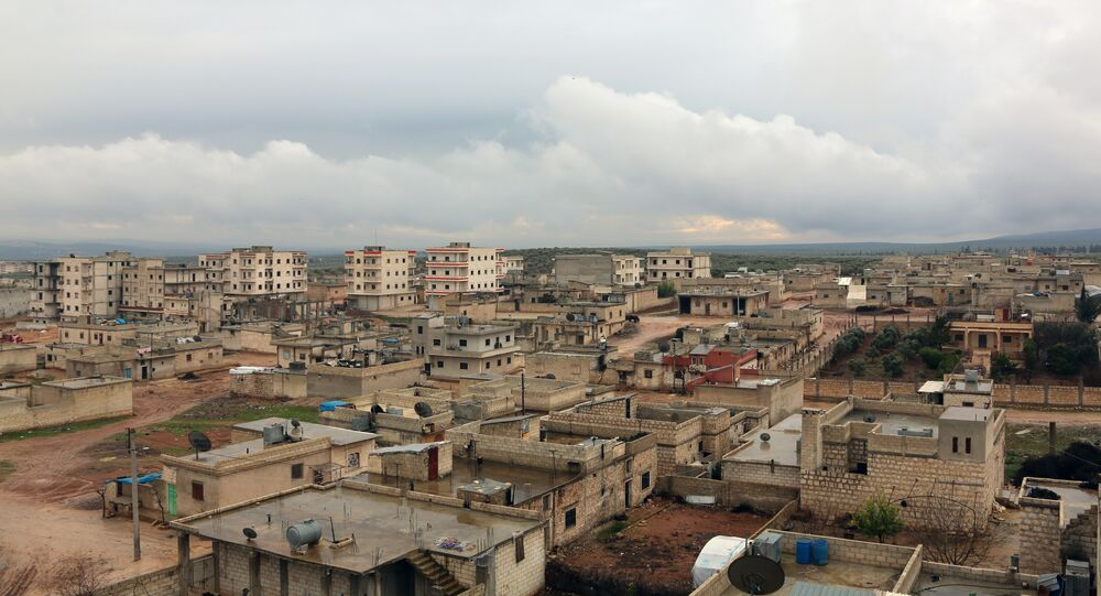 A general view shows the Kurdish town of Jandairis near the Syrian-Turkish border, west of the city of Afrin
