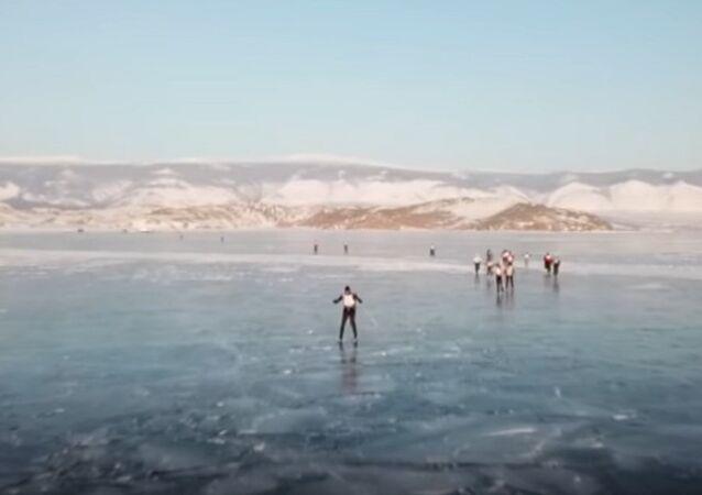 Ice Storm Race On Frozen Lake Baikal