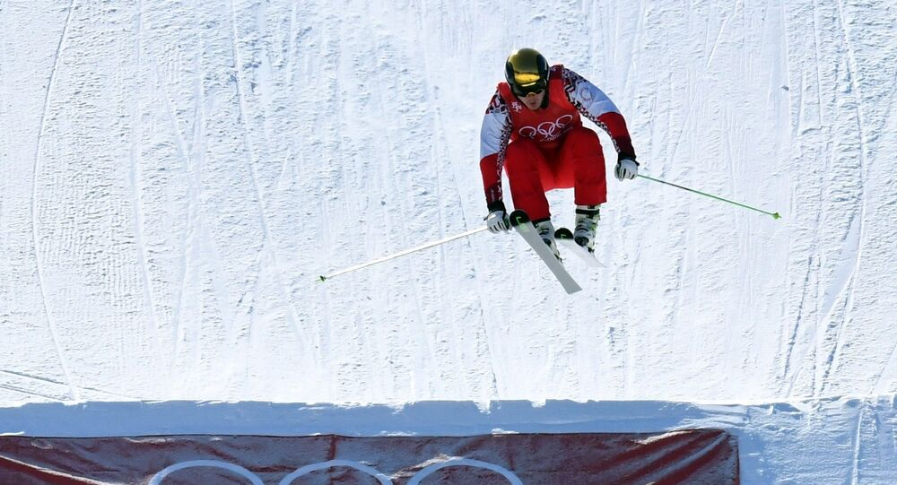 Freestyle Skiing - Pyeongchang 2018 Winter Olympics - Men's Ski Cross Finals - Phoenix Snow Park - Pyeongchang, South Korea - February 21, 2018 - Sergey Ridzik, an Olympic athlete from Russia, competes his way to a bronze medal