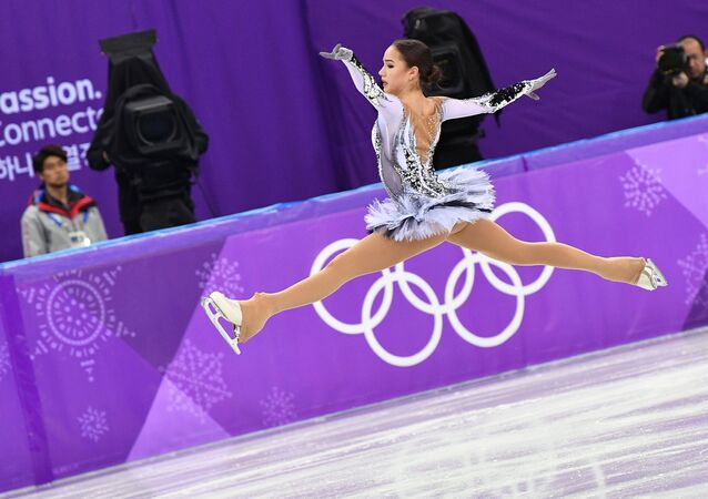 Olympic Athlete from Russia Alina Zagitova performs her short program during the women's figure skating competition at the 2018 Winter Olympics in Pyeongchang