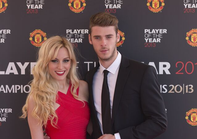 Manchester United's goalkeeper David De Gea arrives with his girlfriend Edurne Garcia Almagro for the team's Player of the Year Awards dinner at Old Trafford Stadium, Manchester, England, Wednesday May 15, 2013.
