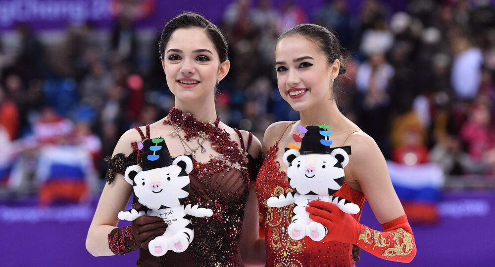 Russian medalists in women's figure skating at the XXIII Winter Olympic Games, from left: silver medalist Evgenia Medvedeva and gold medalist Alina Zagitova