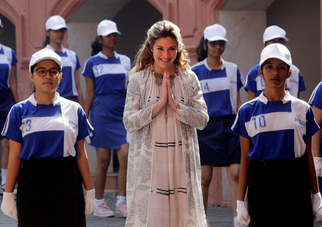 Canadian Prime Minister Justin Trudeau's wife, Sophie Gregoire Trudeau greets students as she arrives at Sophia College in Mumbai, India, February 20, 2018