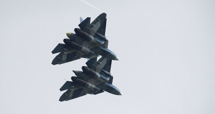 Russian Su-57 fifth-generation fighter aircrafts at the International Aviation and Space Salon MAKS-2017