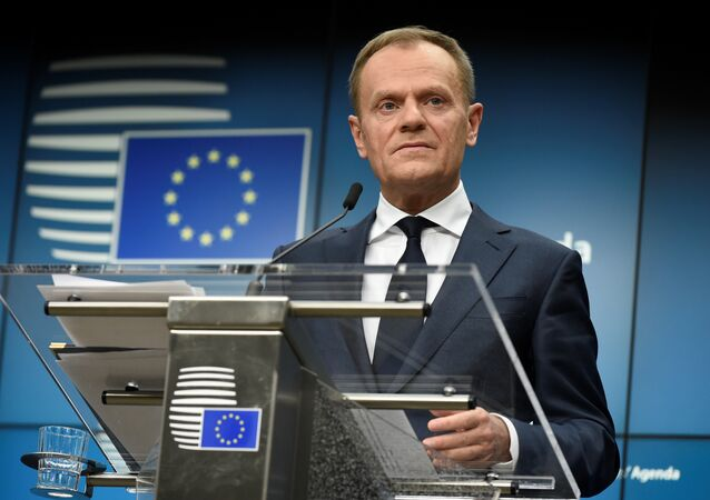 European Council Council Donald Tusk holds a joint press conference with the European Commission President after an informal meeting of the 27 EU heads of state or government at the European Council headquarters in Brussels on February 23, 2018