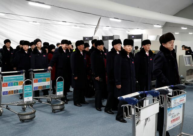 (File) A North Korean delegation of 32 people, including 10 athletes of North Korean Olympic team, arrives at the Gangneung Olympic Village of the Pyeongchang Winter Olympic Games 2018, in Gangneung, South Korea, February 1, 2018