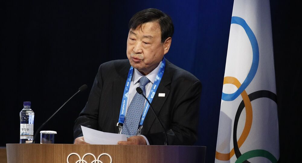 Lee Hee-beom, president of the Pyeongchang Organizing Committee for the 2018 Olympic and Paralympic Winter Games, delivers a report during the 132nd IOC Session prior to the 2018 Winter Olympics in Pyeongchang, South Korea, Wednesday, Feb. 7, 2018
