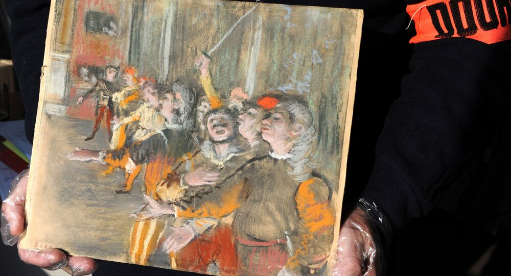 The 1877 painting Les Choristes (The Chorus Singers) by Edgar Degas, seen in this picture provided by the French Customs on February 23, 2018, was found during a routine check on a bus at a highway rest area east of Paris on February 16, 2018