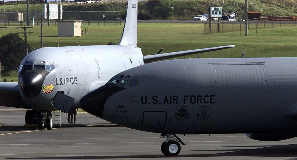 An undated file picture taken in March 2003 shows a US Air Force planes at the Base das Lajes, a US military base in the Portuguese archipelago of Azores