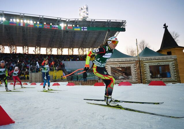 Belarus' Darya Domracheva during the mixed relay race at the 2015 Biathlon Champions Race during the Tyumen Region Governor Cup in Tyumen, Russia. File photo