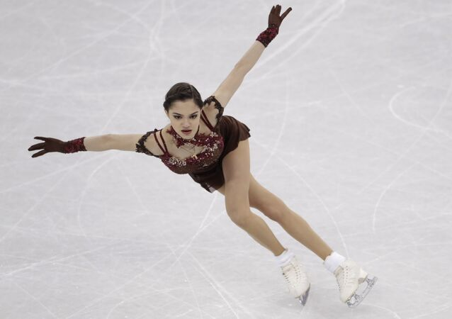 Evgenia Medvedeva of the Olympic Athletes of Russia performs during the women's free figure skating final in the Gangneung Ice Arena at the 2018 Winter Olympics in Gangneung, South Korea, Friday, Feb. 23, 2018.