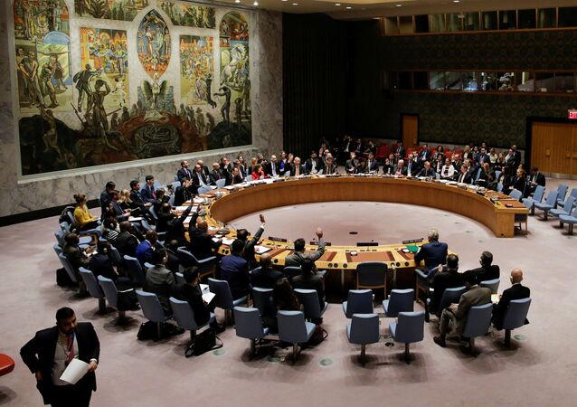 Members of the United Nations Security Council vote for ceasefire to Syrian bombing in eastern Ghouta, at the United Nations headquarters in New York, U.S., February 24, 2018