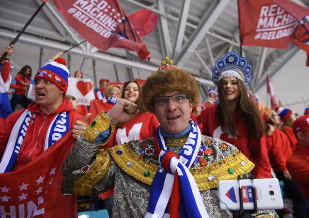 Russian fans at the final match between Russia and Germany in the men's ice hockey tournament at the 2018 Winter Olympics