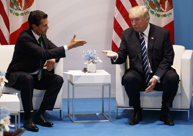 President Donald Trump meets with Mexican President Enrique Pena Nieto at the G20 Summit, Friday, July 7, 2017, in Hamburg.