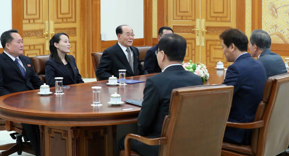 South Korean President Moon Jae-in talks with President of the Presidium of the Supreme People's Assembly of North Korea Kim Young Nam and Kim Yo Jong, the sister of North Korea's leader Kim Jong Un, during their meeting at the Presidential Blue House in Seoul, South Korea, February 10, 2018