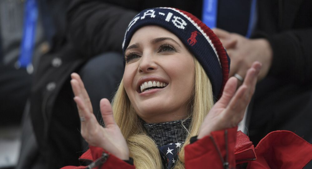 Ivanka Trump, daughter of U.S. President Donald Trump, watches the men's Big Air snowboard competition at the 2018 Winter Olympics in Pyeongchang, South Korea, Saturday, Feb. 24, 2018