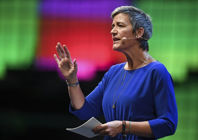 European Commissioner for Competition Margrethe Vestager delivers a speech during the 2017 Web Summit in Lisbon. (File)