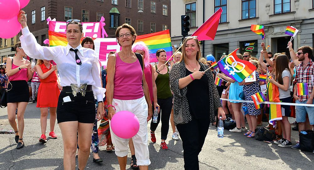 Members of Sweden's Feministiskt Initiativ in the final Pride Parade during Stockholm Pride in 2014.
