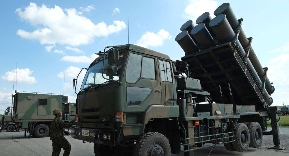 This photo taken on September 8, 2017 shows Surface-to-Ship Missile (SSM-1), a truck-mounted anti-ship missile, at Japan Ground Self-Defense Force (JGSDF) 1st Artillery Brigade at Camp Kita-Eniwa in Eniwa, Hokkaido prefecture