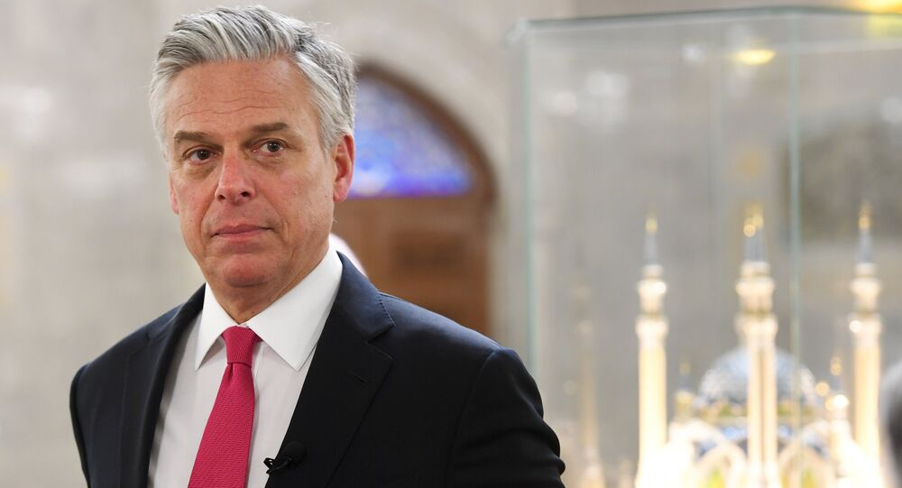 US Ambassador to Russia Jon Huntsman is in the Qol Sharif Mosque during a tour of the Kazan Kremlin