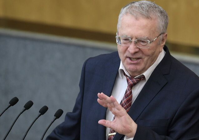 Liberal Democratic Party leader Vladimir Zhirinovsky speaks at a State Duma plenary meeting.