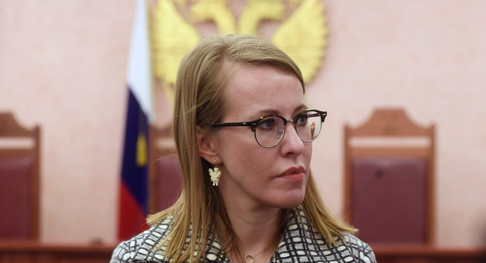Kseniya Sobchak, TV host and Russian presidential candidate from the Civil Initiative political party, talks with the press after the Supreme Court considered her appeal against the rejection of a lawsuit to cancel Vladimir Putin's registration as a Russian presidential candidate