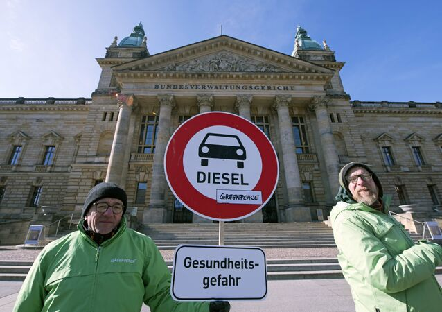 Environment activists stand in front of the Federal Administrative Court prior to a trial in Leipzig, Germany