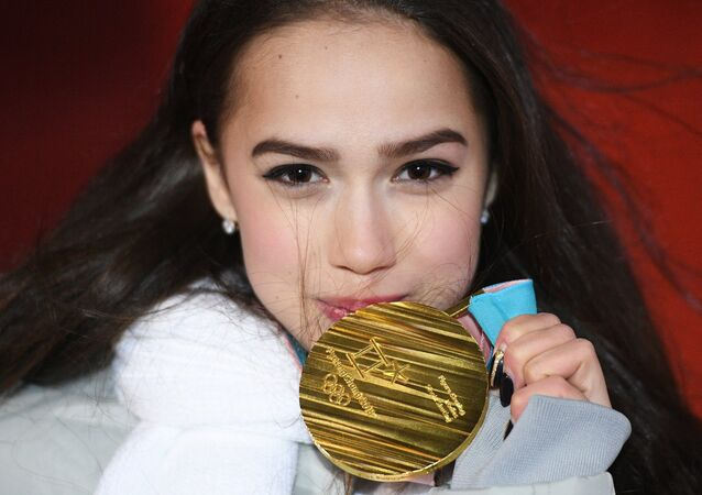 Olympic Athlete from Russia Alina Zagitova, winner of the gold medal in the women's figure skating at the XXIII Winter Olympic Games, during the award ceremony.